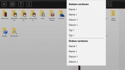 File Explorer X - Menu Sorting